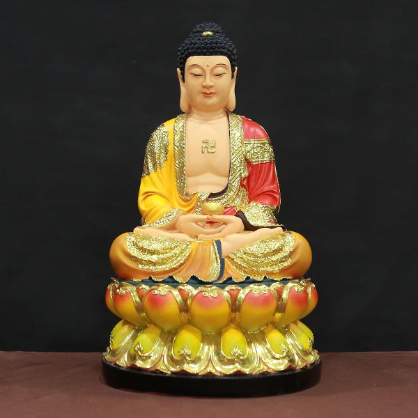 tượng phật bổn sư thích ca mâu ni bằng composite sơn vẽ họa tiết vàng cao 30-40-48cm