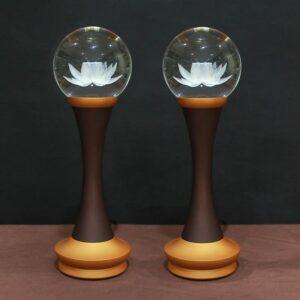 đèn pha lê hoa sen để bàn thờ đổi màu thân hợp kim cao 12,5-40cm