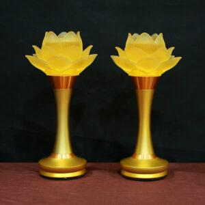 đèn thờ hoa sen 1 bông thủy lưu ly thân vàng