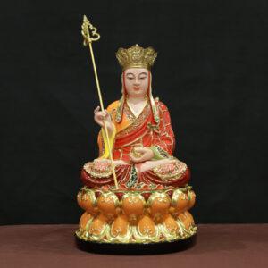 tượng địa tạng vương bồ tát bằng composite sơn màu viền vàng 40cm