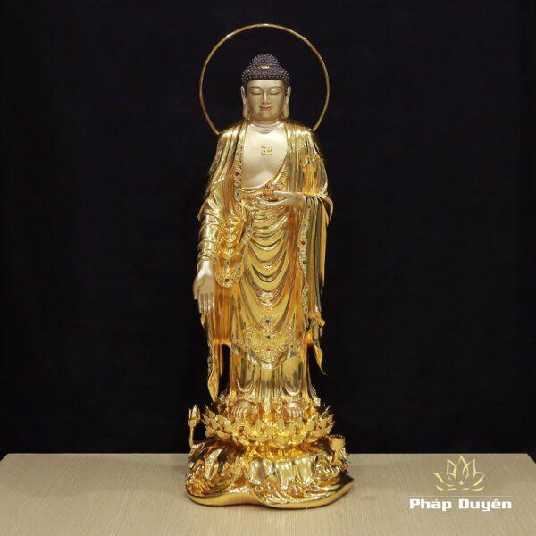 Tượng Phật A Di Đà Đứng Đài Sen Có Lá Đề, Đồng Đài Loan Mạ Vàng 998