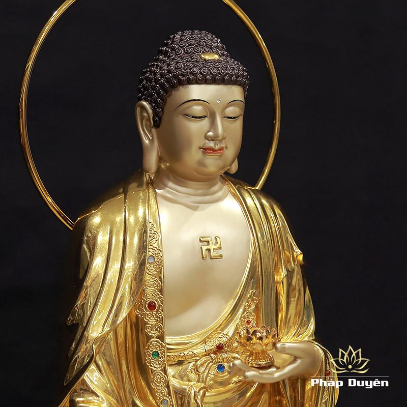 Tượng Phật A Di Đà Đứng Có Lá Đề, Đồng Đài Loan Mạ Vàng 998