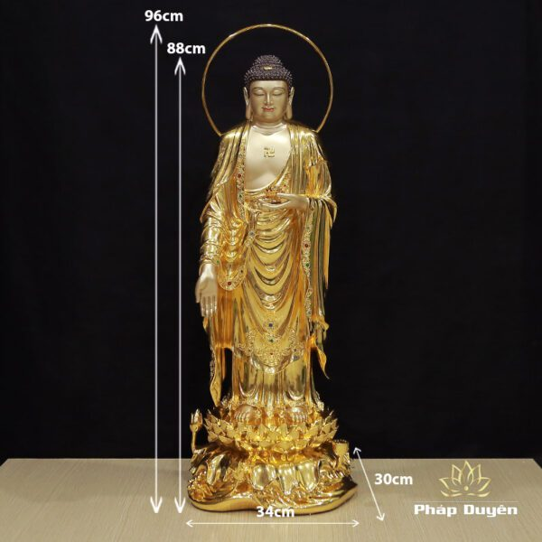 Tượng Phật A Di Đà Đứng Có Lá Đề, Đồng Mạ Vàng 998