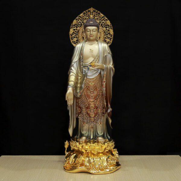 Tượng Phật A Di Đà Đứng Đài Sen Có Lá Đề, Đồng Men Cổ Đài Loan Cao Cấp