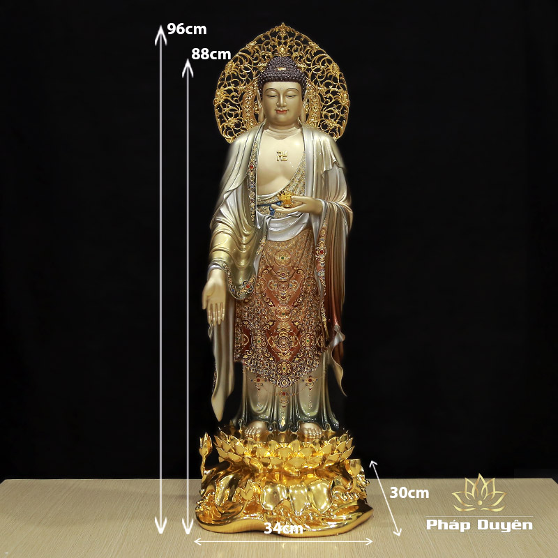 Tượng Phật A Di Đà Đứng Đài Sen Có Lá Đề, Đồng Men Cổ