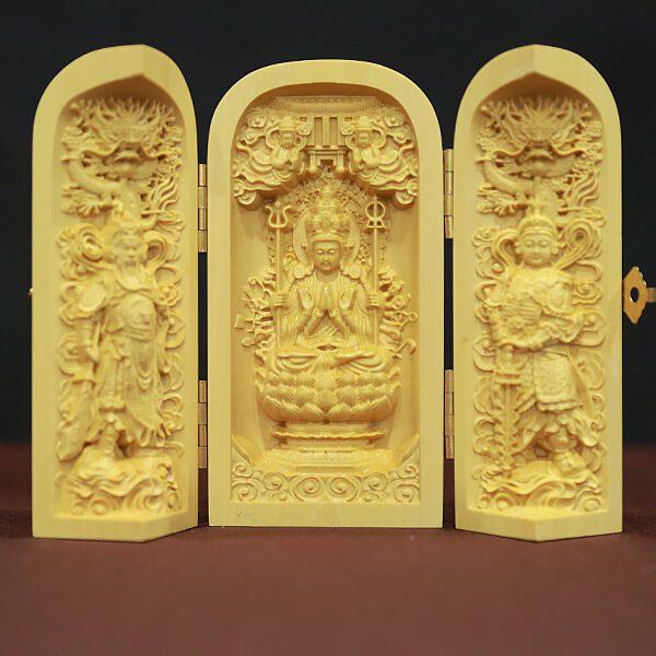 tượng để xe quan âm hộ pháp bằng gỗ hoàng dương hộp đóng gập cao 10cm